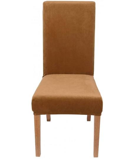 Husa scaun catifea camel